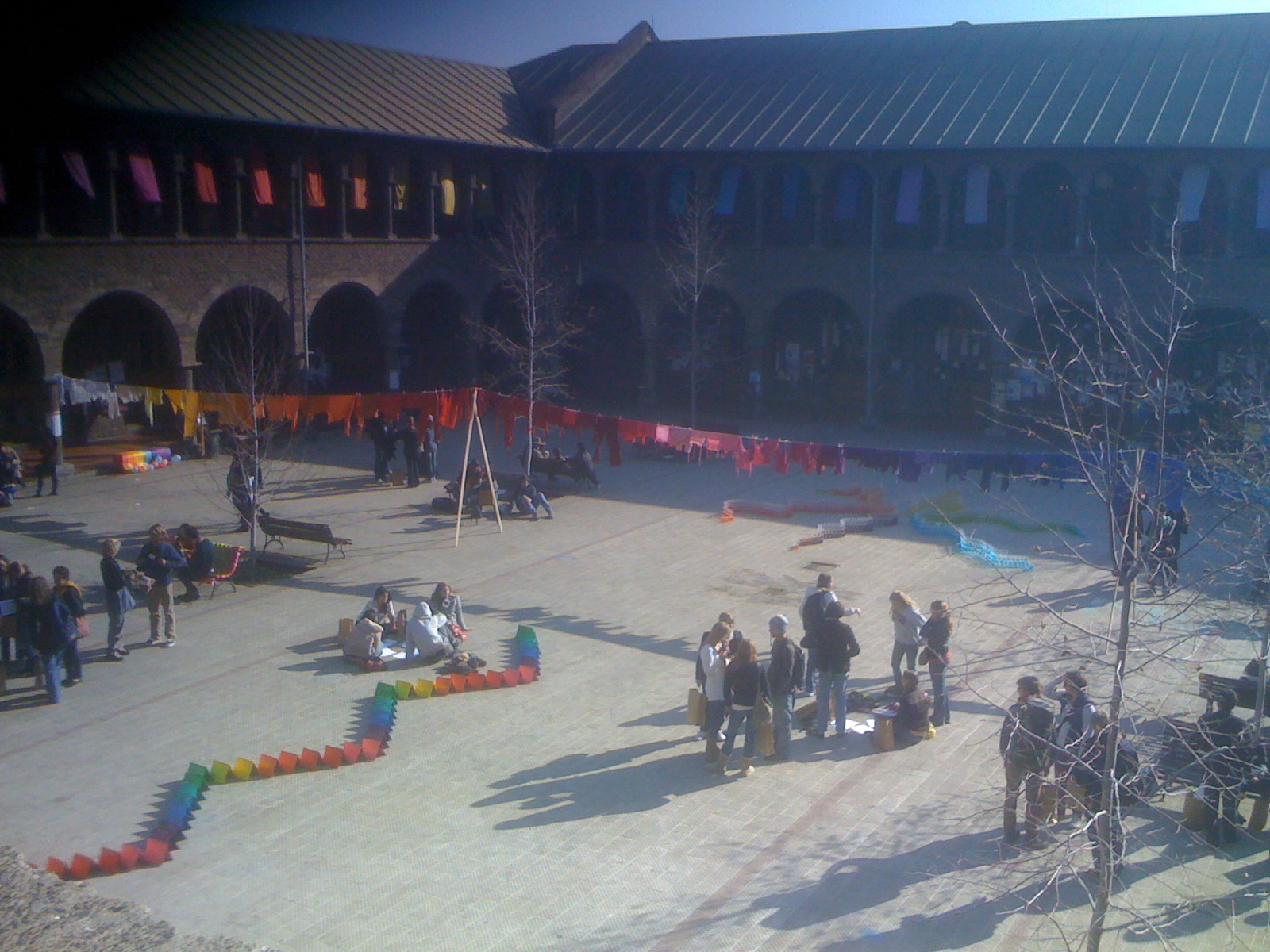 The central courtyard had several very colorful artistic displays.